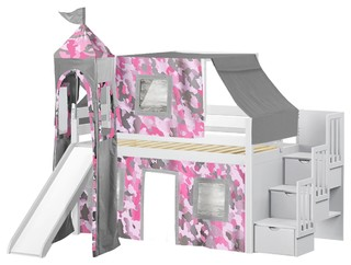 Jackpot Princess Twin Low Loft White Stairway Bed, Pink Camo Tent & Slide