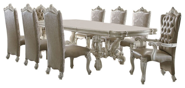 Versailles Bone White Finish 7 Piece Formal Dining Room Table Set
