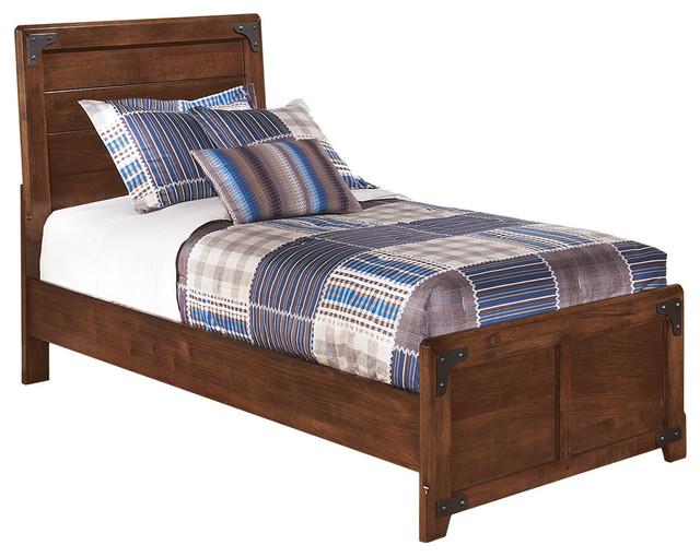 Delburne Twin Panel Bed, Medium Brown.