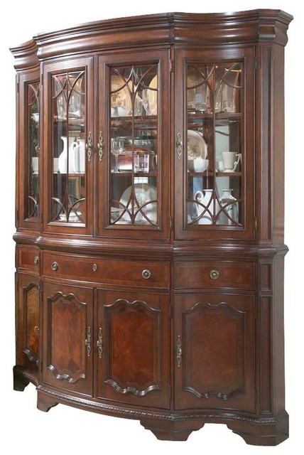Heritage Mahogany Shape China Cabinet Traditional