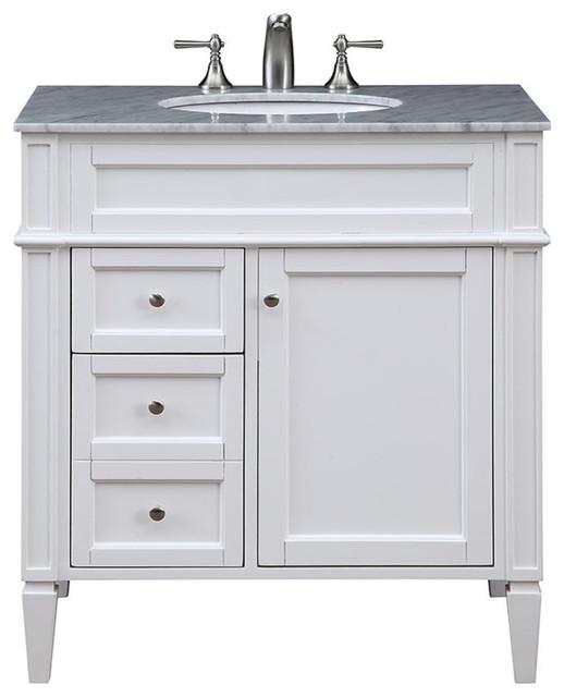 """Elegant Lighting Vf-1024 Park Ave 32"""" Vanity Set With Cabinet, White."""