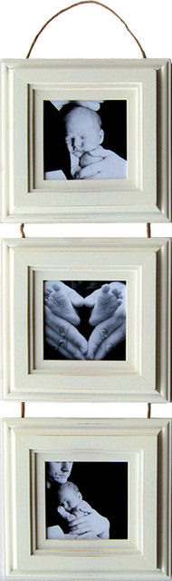 Collage Picture Frame, Set of 3 5x5 White Frames On Hanging Rope ...