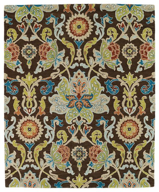 Kaleen Helena Turquoise Rug: Kaleen Hand Tufted Taj Chocolate Wool Rug