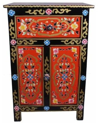 Hand Painted Nightstand Mango Wood With, Hand Painted Indian Bedside Cabinet