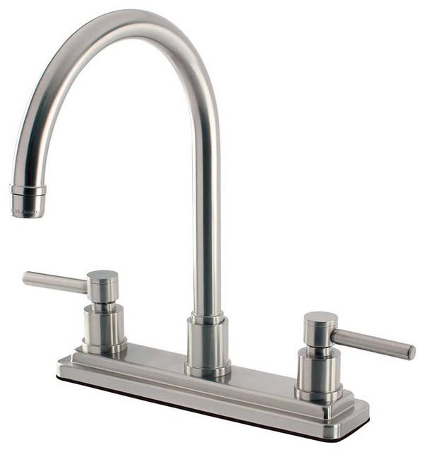 Kingston Brass Concord 2 Handle Kitchen Faucet, Satin Nickel