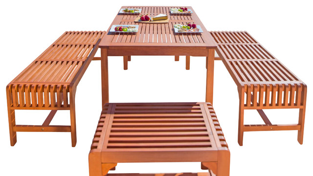 5-Piece Dining Set With Rectangular Table And Backless Benches.