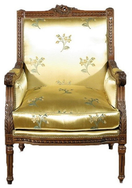 Consigned Vintage Solid Walnut Arm Chair With Yellow Fl Fabric Upholstery