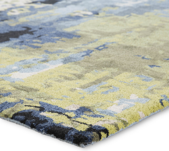Handmade Abstract Blue Green Area Rug