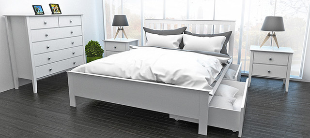 Myer white queen bed with two storage drawers - Modern queen bed with storage ...