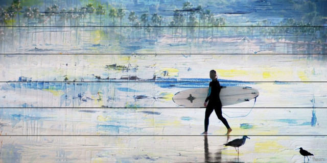 """""""Day of Surfing"""" Painting Print on White Wood, 40""""x20"""""""