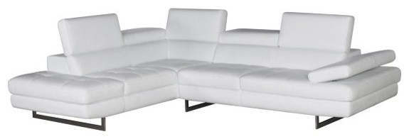 A761 Modern Leather Sectional Sofa, White.