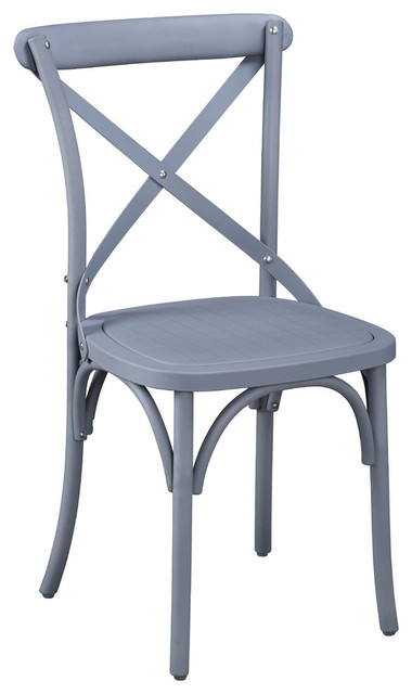 Essen Eco-Friendly Nylon Vintage-Style Cross Back Dining Chair, Set Of 2, Gray.