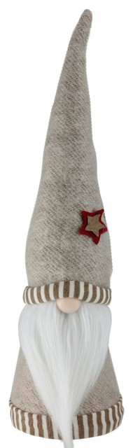 "16"" Holiday Moments Tan Striped Trim Hat Decorative Table Top Cone Gnome."