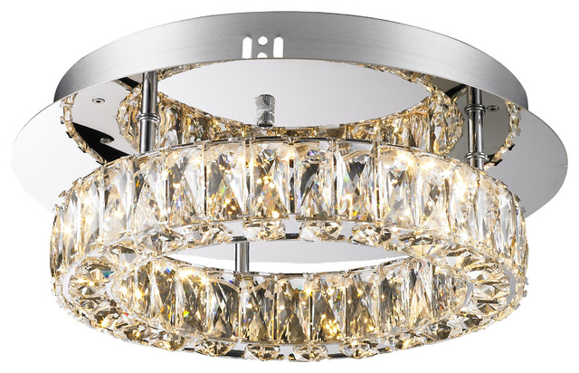 Baily, Dimmable Led Crystal Round Flush Mount.