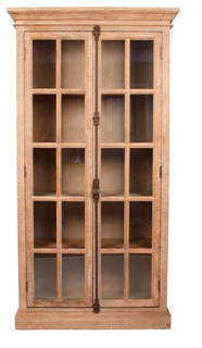 Florence French Country Traditional Limed Gray Oak Storage Display Cabinet