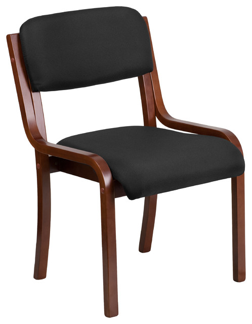 Luxcontemporary Wood Side Chair, Black Fabric And Walnut Frame.