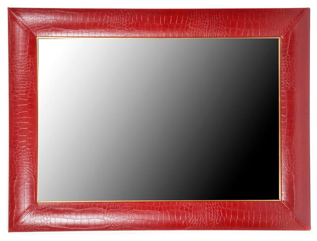 rossi croc leather framed mirror 32 x 44 24 x 36mirror