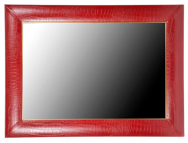 rossi croc leather framed mirror 32 x 44 24 x 36mirror