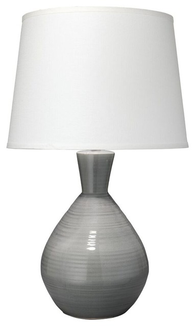 Ash Table Lamp in Grey Ceramic with Large Cone Shade, White Linen