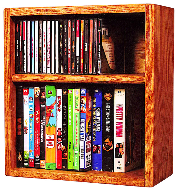 solid oak desktop or shelf for cd 39 s and dvd 39 s vhs tapes modern media racks and towers by. Black Bedroom Furniture Sets. Home Design Ideas