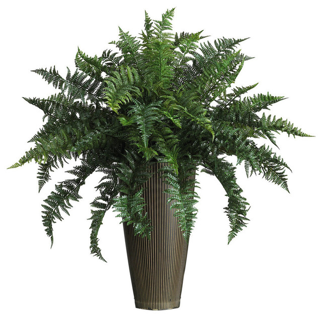 Ruffle Fern With Decorative Vase Silk Plant, Indoor and Outdoor ...