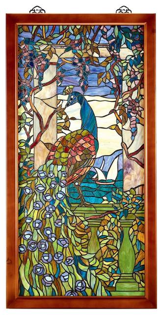 Shop Houzz Design Toscano Peacock Witwisteria Glass