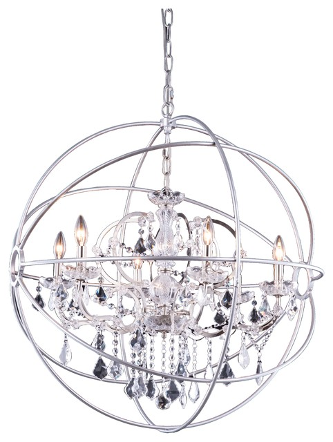 Elegant lighting foucaults 6 light orb crystal chandelier foucaults 6 light orb crystal chandelier polished nickel clear crystal traditional chandeliers mozeypictures Images