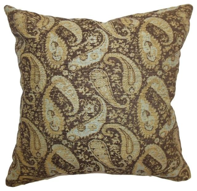 The Pillow Collection Kalani Paisley Throw Pillow Cover Truffle