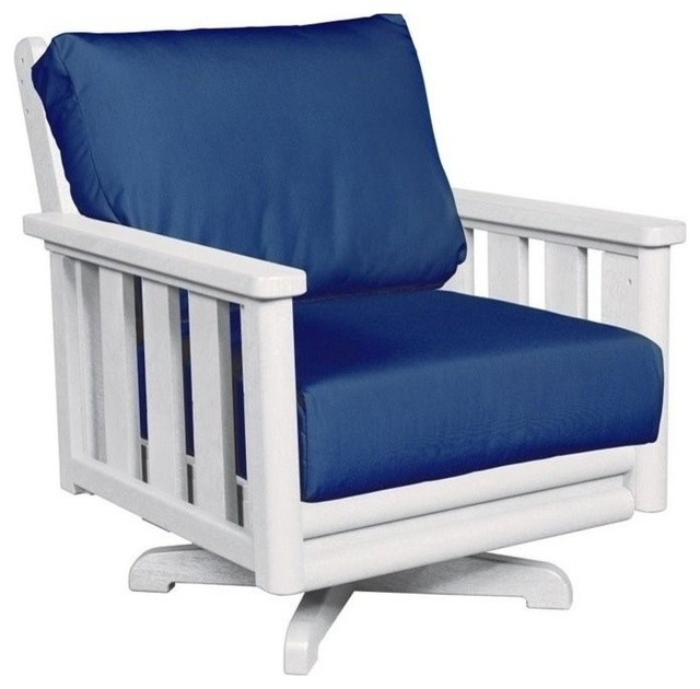 Cr Plastic Cr Plastic Stratford Swivel Patio Chair White