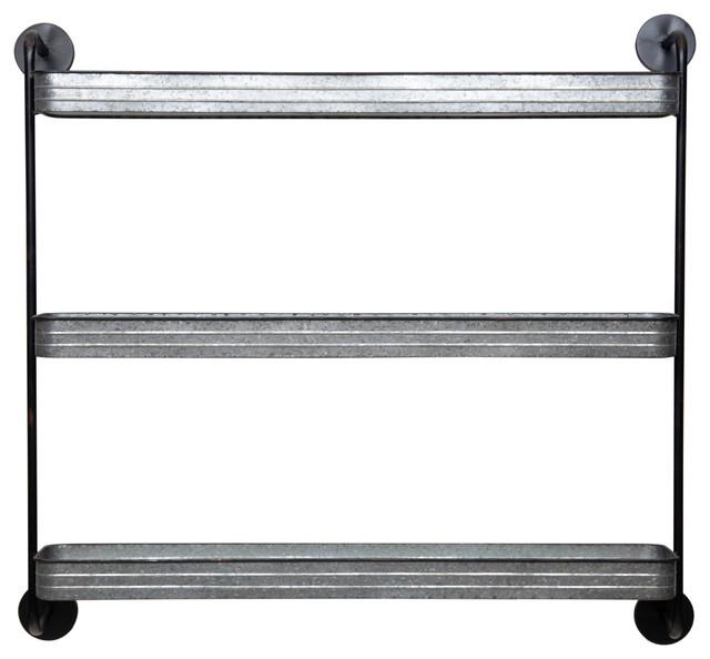 Rustic 3 Tier Galvanized Metal Wall Shelf Storage