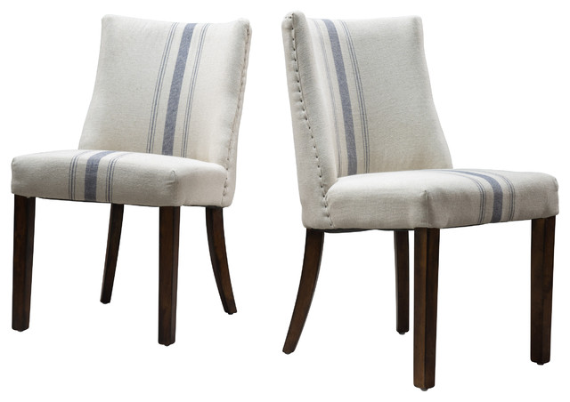Rydel Stripe Dining Chairs, Set Of 2, Blue Transitional Dining Chairs