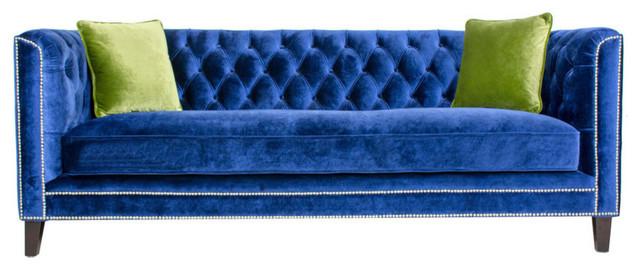 Pasargad Victoria Collecion Tufted Velvet Sofa Navy