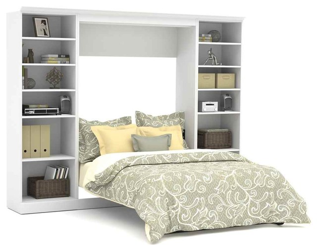 109 In. Full Wall Bed With 25 In. Storage Unit In White.
