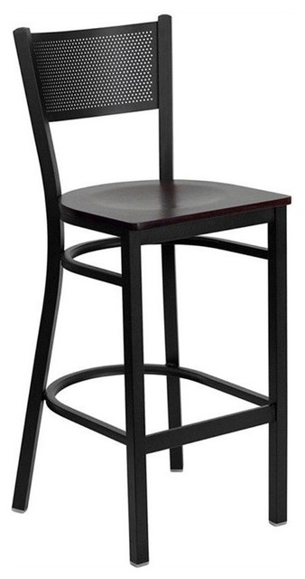 Astounding Pemberly Row 29 Black Back Metal Bar Stool In Mahogany Gamerscity Chair Design For Home Gamerscityorg