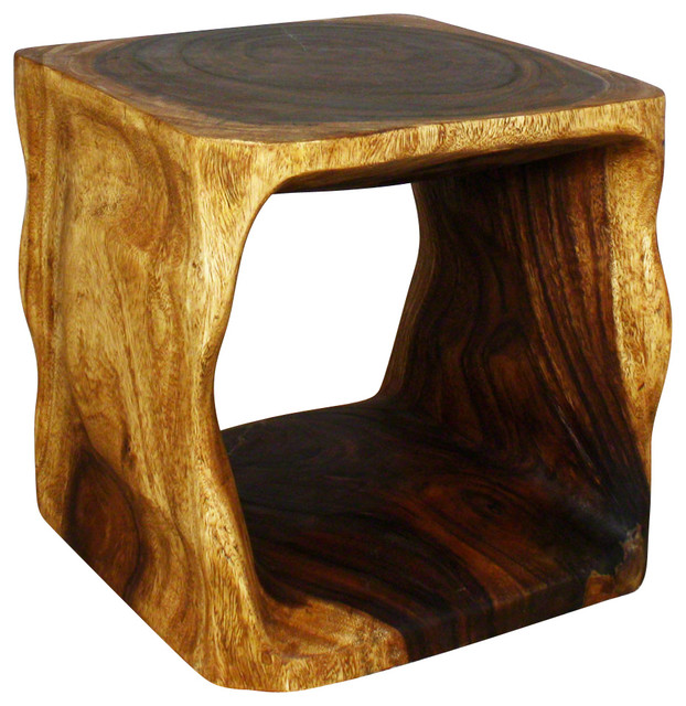 Natural Cube Sustainable Wood End Table Rustic Side