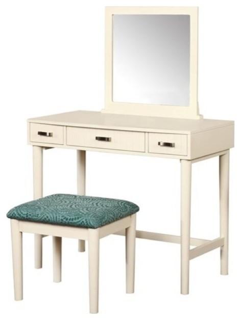Bowery Hill 3-Piece Bedroom Vanity Set, Cream - Bedroom & Makeup ...