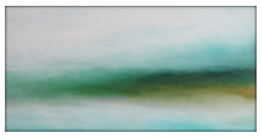 Large Abstract Landscape Painting On Canvas Modern Acrylic Skyline- 30x48- White.