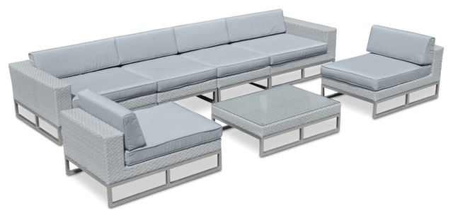 Marseille Outdoor Patio Furniture 7 Piece Sofa Sectional Set  Tropical Outdoor Lounge Sets