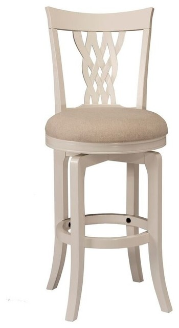 Embassy Swivel Bar Stool Off White Woven Fabric White