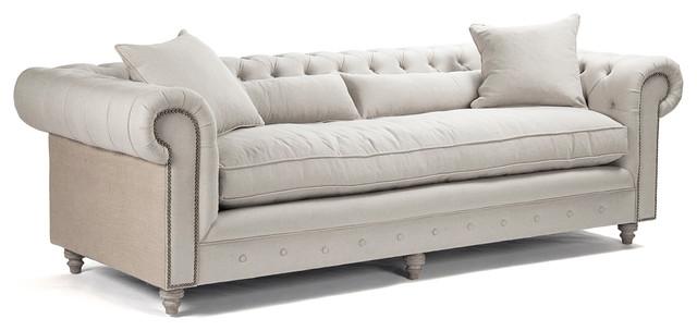 alaine french country burlap linen chesterfield nailhead sofa rh houzz com grey linen chesterfield sofa grey linen chesterfield sofa