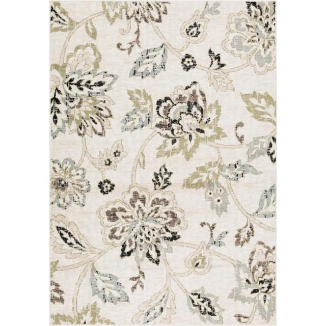 L'Baiet Maya Green Modern Floral 8' x 10' Fabric Area Rug