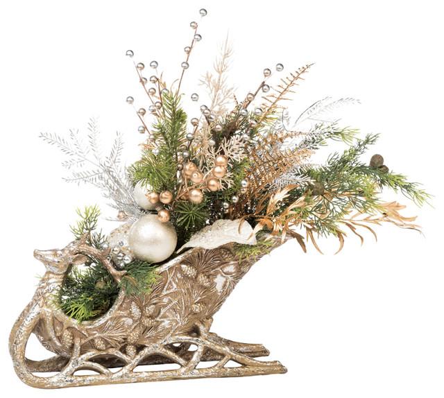 Holiday Sleigh Centerpiece Traditional Artificial  : traditional artificial flower arrangements from www.houzz.com size 640 x 574 jpeg 120kB