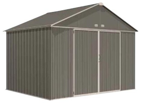 Ezee 10x8 Extra High Gable Shed In Cream & Charcoal.