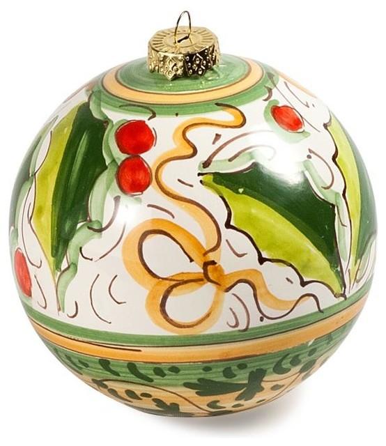 Holly Berry Italian Ceramic Ornament
