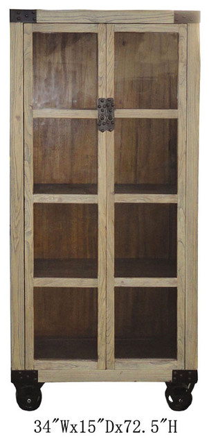 Chinese Antique Natural Wood Glass Door Display Cabinet W