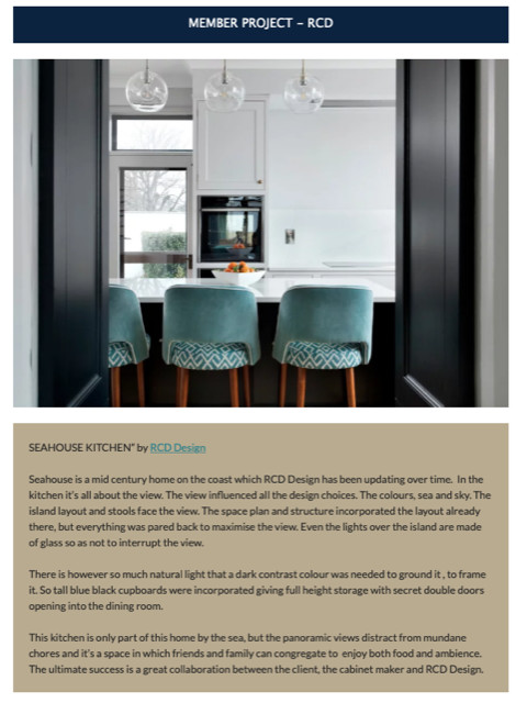 The article in the Interiors Association Newsletter April 2021 Seahouse Kitchen RCD Design