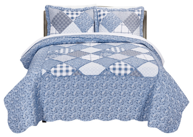 Mhf Home Isabella Floral And Plaid Patchwork 3 Piece Quilt Set Farmhouse Quilts And Quilt Sets By Morgan Home