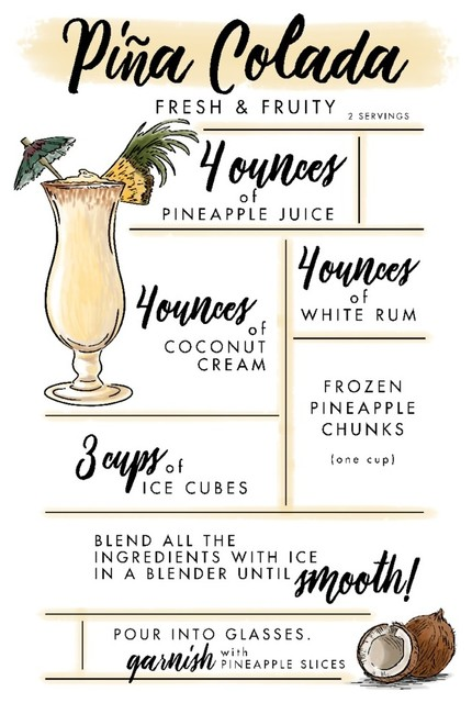Cocktail Recipe Retro Vintage Pina Colada Framed Canvas Art Print Poster