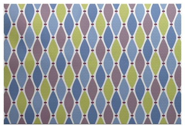 Wavy splash geometric print indoor and outdoor rug for Geometric print area rugs