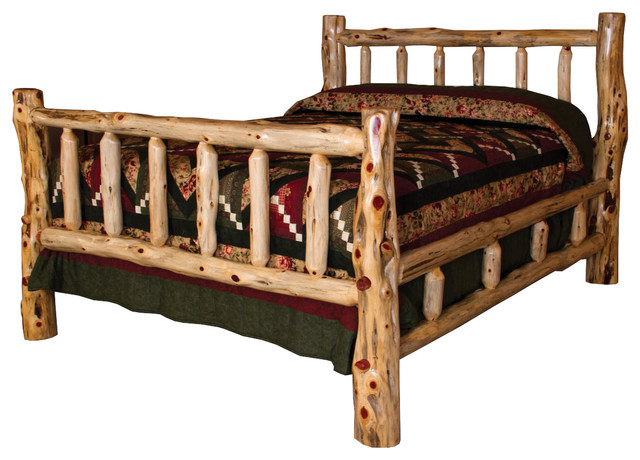 rustic red cedar log queen size bed with double side rails and spindles rustic panel beds. Black Bedroom Furniture Sets. Home Design Ideas